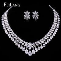 Feilang mujeres elegante y de lujo oro blanco plateado Water Drop forma circonita circón pendientes collar joyería de la boda ( FSSP110 )