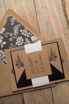 HADLEY Suite Floral Package, floral, kraft, black, letterpress, black and white, rustic wedding invitations, rifle paper envelope liners