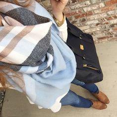 blanket scarf - Target white top?? medium denim - Target brown boots - American Eagle