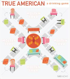 "True American: a drinking game (from New Girl!)...""It's 50% drinking game, 50% life-size Candy Land."""