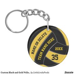 Custom Black and Gold Volleyball Gifts for Players Keychain - cheap gifts diy cyo unique gift ideas Volleyball Party, Volleyball Gifts, Volleyball Drills, Volleyball Quotes, Coaching Volleyball, Senior Night Gifts, Water Polo, Cheap Gifts, Team Names