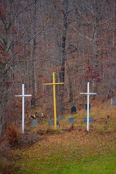 """Recently renovated Reverend Bernard Coffindaffer's """"Crosses of Mercy"""" and small cemetery located on Corridor L North near its junction with I-79 North."""