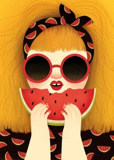 18 Fun and Refreshing Illustrations for Summer - Jayce-o-Yesta Graphic Design Inspiration Portrait Illustration, Character Illustration, Cute Owls Wallpaper, Watermelon Illustration, Facebook Cover Images, Apple Art, Iranian Art, Creative Instagram Stories, Cute Cartoon Wallpapers