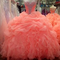Beaded Sweetheart Coral Organza Ball Gowns Quinceanera Dresses