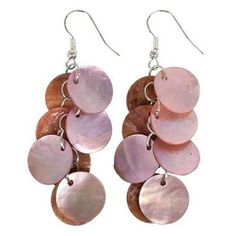Mother of Pearl Cluster Earrings in Pink Handmade and Fair Trade