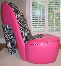 Pink and zebra high heel shoe chair by highheelshoechaircom 179 00