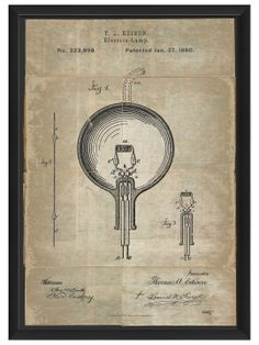 Edison Patent (White) by Artwork Enclosed at Gilt $69