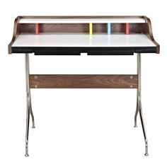 The Neil Desk is an artist's dream with a bright white workspace and colorful accents mixed with metal and wood to give this piece a midcentury modern look. This is a timeless design that can work in any home office. -Material: MDF, Walnut Veneer, Walnut Wood-W 39