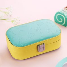Small Faux Leather Travel Jewelry Storage Box Wedding Earring Ring Holder Yellow #weiju