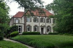 """""""Designed by Neel Reid for Sigmund Montag, this Druid Hills house was built in 1915. According to the book Architecture of Neel Reid in Georgia the house is reminiscent of 17th century French architecture. However, the entrance doorway is late 17th century English"""". Whitehaven interiors"""