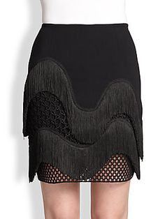 Stella McCartney Fringe & Lace Mini Skirt