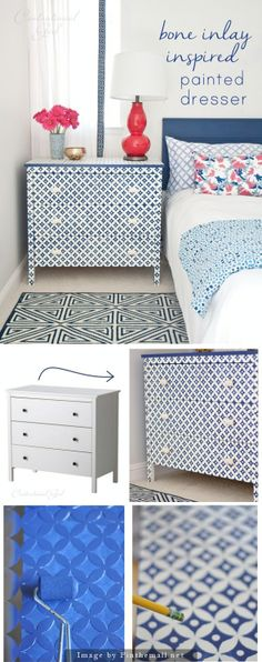 """$99 IKEA Koppang chest and Nagoya stencil from Cutting Edge Stencils. The chest paint is Glidden's """"Rich Navy,"""" knobs from Anthropologie. Not complicated but very time consuming."""
