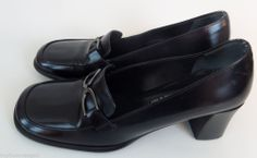 Via Spiga Black Women Shoes Made in Italy Dress Slip on Heels Pumps Leather 7 M #ViaSpiga #PumpsSlipon