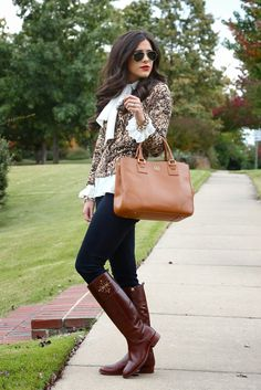 Tory Burch[[MORE]] Tory Burch Tote & Tory Burch riding bootsSimilar cardigan & similar top Fashion By The Sweetest Thing