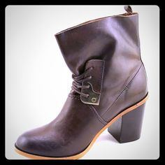 Brown Block heel ankle booties Genuine leather ankle boot with gold detail. Dress them up or go casual. Kensie Shoes Ankle Boots & Booties
