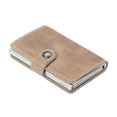 Secrid Women Mini Wallet Genuine Leather Vintage RFID Safe Card Case for max 12 cards 16mm slim Taupe ** Click on the image for additional details.