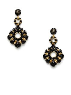Gold & Black Bead Triple Drop Earrings by Miguel Ases at Gilt