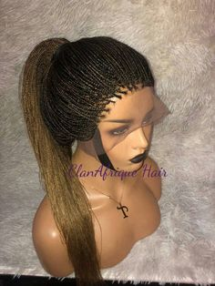 Custom made micro size box braids This unit comes in four lace options;  SINGLE PART LACE CLOSURE The unit would be made with a 2 by 4 inches human hair single part closure, which only allows for one center part styling. the wig cannot be put up in a bun.  THREE PART LACE CLOSURE The unit would be Box Braid Wig, Big Box Braids, Front Braids, Box Braids Styling, Braids Wig, Natural Hair Twists, Natural Hair Updo, Flat Twist Updo, Twist Braids