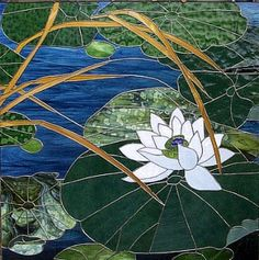 Water Lily Stained Glass Panel