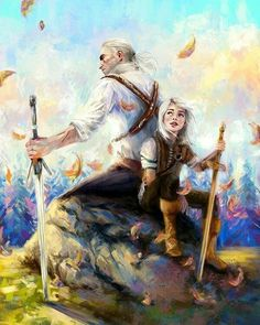 The Witcher Wild Hunt - Geralt & Ciri The Witcher Art, The Witcher Wild Hunt, The Witcher Books, Witcher Wallpaper, The Witcher Geralt, Yennefer Of Vengerberg, Video Game Art, Fantasy Characters, Hunger Games