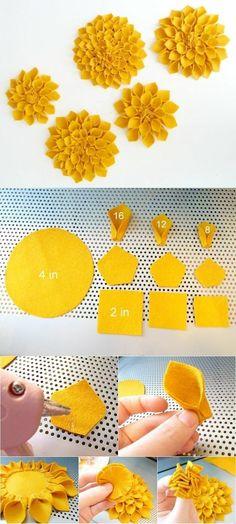 fleur en tissu tuto, idée comment faire des fleurs en tissu jaunes de tailles différentes, modèle de fleurs en feutrine DIY