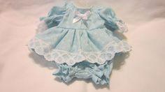 """Aqua Floral Print Dress/bloomers, fits 8"""" L'il Cutie Berenguer babies #KindredHeartsDesigns"""