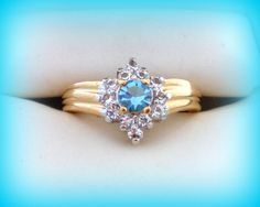 50% SALE Size 8 Ring..Vintage Blue Topaz Ring..Blue Topaz Engagement Ring..Aquamarine Ring..Promise Ring..Blue Cocktail Ring...80's NOS by VintageTrinkets4u