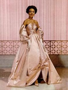 Pink Dress worn by Fashion Fair Model in 1960. African American Fashion. Black Beauty.