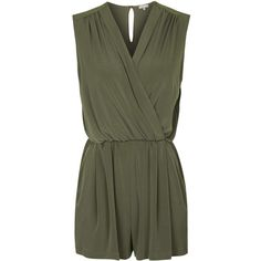 TOPSHOP **Wrap Front Playsuit by Love (395 DKK) ❤ liked on Polyvore featuring jumpsuits, rompers, khaki and playsuit romper