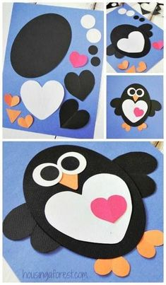 Valentines Craft ~ Heart Penguin Craft for kids - Crafts for Kids Valentine's Day Crafts For Kids, Valentine Crafts For Kids, Daycare Crafts, Projects For Kids, Holiday Crafts, Fun Crafts, Craft Projects, Arts And Crafts, Craft Ideas