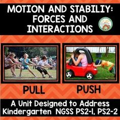 Push and Pull: Kindergarten NGSS Motion and Stabililty Science Fun, Science Ideas, Physical Science, Science Lessons, Science Experiments, Kindergarten Lessons, Kindergarten Classroom, Elementary Teacher, Elementary Science