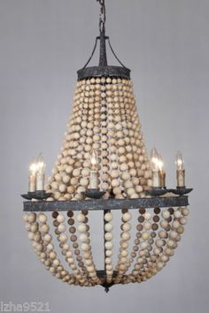 8-light-Large-Antique-Bronze-Natural-Wood-beads-Beaded-Elena-Chandelier-New