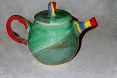 Spring Teapots by Janet Kozachek on Etsy Teapots, Spring, Tableware, Green, Etsy, Dinnerware, Tablewares, Dishes, Place Settings