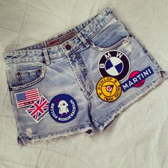 Reworked Vintage Jean Shorts with Patches / Patched Vintage Jean Shorts by KodChaPhorn on Etsy