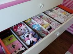 Ideas for organizing small baby items (e.g., socks, shoes, etc.) in drawer