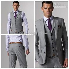 2014 - Light Grey Men's Formal occasions Clothes Tuxedos Suit For Men Wedding Suits Prom/Form/Bridegroom US $80.99