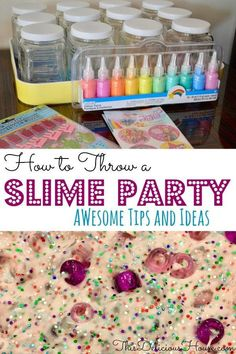 How to Throw a Slime Party! Host a fun kids birthday party with these slime party ideas and the BEST non-stick fluffy slime recipe! #slimeparty #slimebirthday