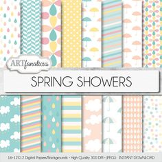 Baby Shower digital papers SPRING SHOWERS pink by Artfanaticus, $4.90
