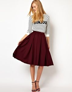 ASOS Full Midi Skirt with Box Pleats in Oxblood - Mine