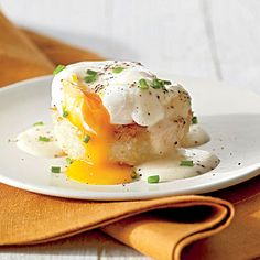 Grits Cakes with Poached Eggs and Country Gravy | Trim away uneven edges for a clean look. Use a paring knife, round cookie cutter, or pizza wheel.