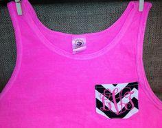 Authentic Pigment Neon Pink Tank Top with Chevron Fabric Pocket Vines Monogram Vine Monogram, Chevron Fabric, Vines, Athletic Tank Tops, Neon, Pocket, Clothes, Shopping, Image