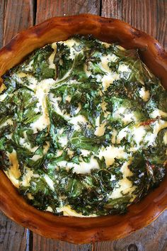 Crustless Quiche, Loaded (or not) with Kale 5 large eggs 3 T. all-purpose flour 1 cup crème fraîche (see recipe below) 1 cup whole milk 1 tsp. kosher salt ½ tsp. freshly ground black pepper 1 T. fresh thyme*, finely chopped 1 to 3 cups** uncooked coarsely chopped kale or chard or mustard greens, etc * Thyme is amazing (seriously, so good), but tarragon, chives, basil, really whatever herb you like will work. ** Aesthetically, 1 cup is perhaps the ideal amount, but if you're looking to add…