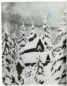 "spectral-insomnia: "" Theodor Kittelsen - ""Stave Church In Snow"" - 1907 "" Theodore Kittelsen, Ink Illustrations, Illustration Art, Snow Scenes, Winter Beauty, Winter Wonder, Winter Art, Tumblr, Black Magic"