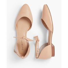 Talbots Women's Edison Ankle Strap D'Orsay Flats : Soft Napa Leather ($119) ❤ liked on Polyvore featuring shoes, flats, flat pumps, ankle strap d orsay flats, polish shoes, cushioned flats and low heel shoes