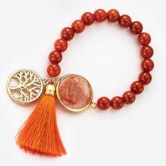 NICE regalos hermosos- Pulsera Nicegem Agata en tonos naranja. Joyeria en 4 baños de 18 kilates.