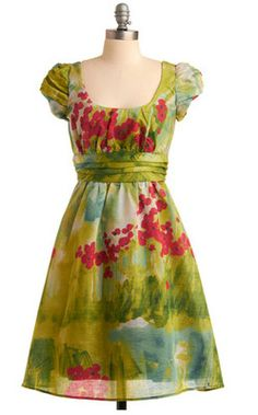 Modcloth Green Floral Dress, Size Small