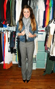 denim jacket, tweed trousers, patent pumps, leopard scarf by Le Stylo Rouge ~ shared at Brag About It Link Party Mondays at Midnight on VMG206. #bragaboutit