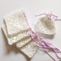 25 pcs Cotton lace favor bags with satin ribbon, wedding favor, gift bag, bridal shower, jewelry pouch