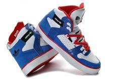 Adidas Original Shoes mens  high tops white blue (2)