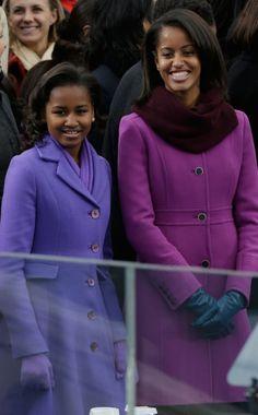 Purple Reign from Malia Obama and Sasha Obama Over the Years Malia Obama, Barack Obama Family, Obama Daughter, First Daughter, Malia And Sasha, Purple Coat, Plum Purple, Black Presidents, Barack And Michelle